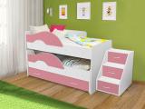 Выкатная кровать «Радуга» белый/розовый