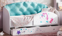 Кровать Звёздочка с бортиком бирюзовый