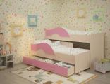 Выкатная кровать «Радуга»  дуб/розовый