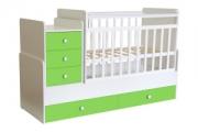 Кровать детская Фея 1100 белый-лайм