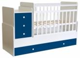 Кровать детская Фея 1100 белый-синий