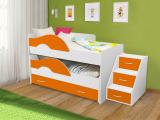 Выкатная кровать «Радуга» белый/оранжевый