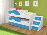 Выкатная кровать «Радуга» белый/синий