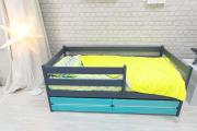 Кровать Сонечка графит/бирюза