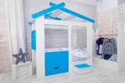 Кровать Теремок белый/лазурь