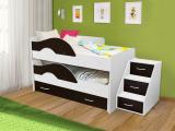 Выкатная кровать «Радуга» белый/венге