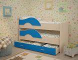 Выкатная кровать «Радуга» дуб/синий