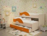 Выкатная кровать «Радуга» дуб/оранжевый