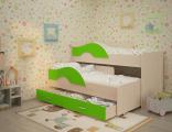 Выкатная кровать «Радуга» дуб/лайм