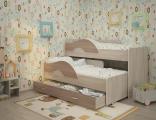 Выкатная кровать «Радуга» шимо темный/шимо светлый