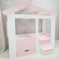 Кровать Теремок белый/розовый